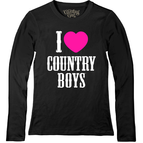 Country Girl® I Heart Country Boys - Fitted Long Sleeve Tee