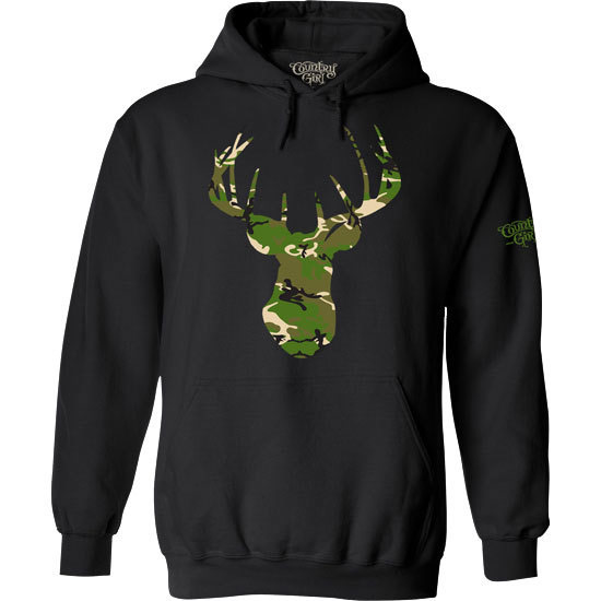 Country Girl® Camo Deer Head - Relaxed Pullover Hoodie