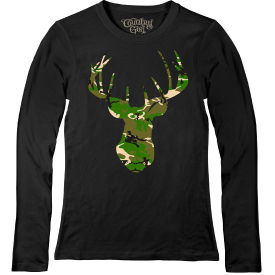 Country Girl® Deer Head Green Camo - Fitted Long Sleeve Tee
