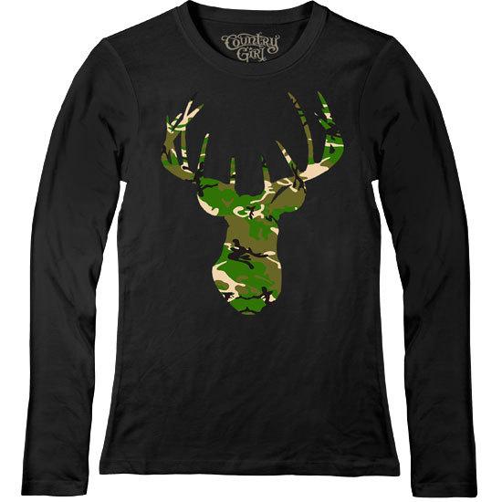 Country Girl® Deer Head Green Camo - Fitted Long Sleeve Tee