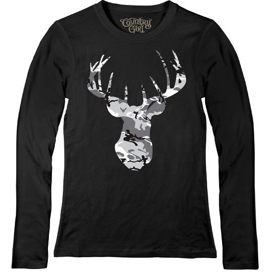 Country Girl® Grey Camo Deer Head - Fitted Long Sleeve Tee