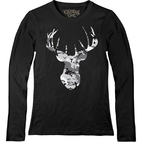 Country Girl® Grey Camo Deer Head - Fitted Long Sleeve Tee