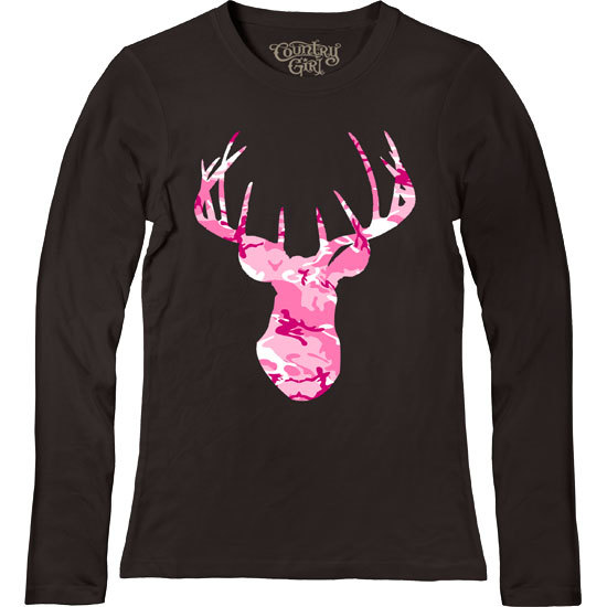 Country Girl® Deer Head Pink Camo - Fitted Long Sleeve Tee