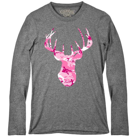 Country Girl® Deer Head Pink Camo - Fitted Long Sleeve Tee