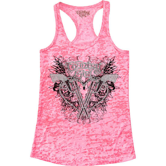 Country Girl® CG Pistol Wings w/Rhinestones - Burnout Racerback Tank
