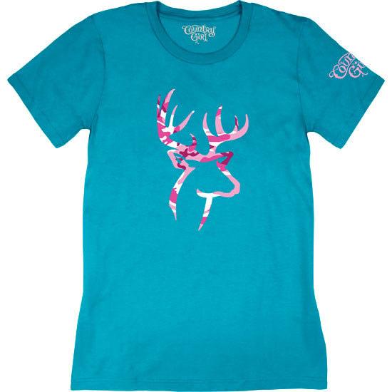 Country Girl® Pink Camo Deer Logo - Short Sleeve Tee