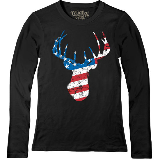 Country Girl® Deer Flag - Fitted Long Sleeve Tee