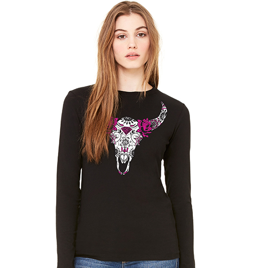 Country Girl® Sugar Bull Skull - Fitted Long Sleeve Tee
