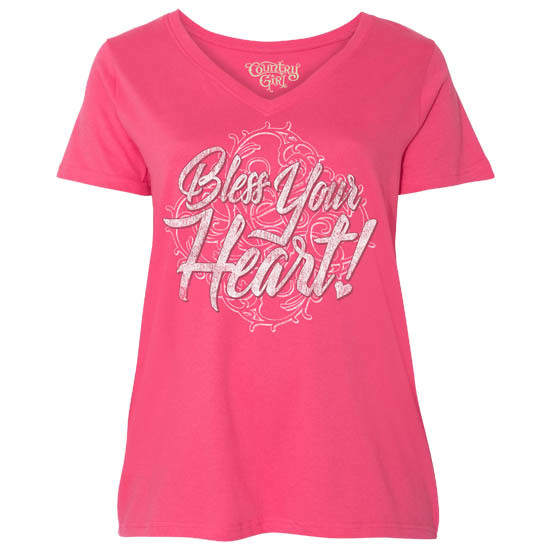 Country Girl® Bless Your Heart - Plus Size V-Neck Tee