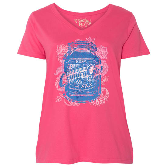 Country Girl® 100% Genuine - Plus Size V-Neck Tee