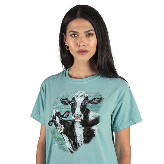 Country Girl® Comfort Colors Seeing Double Cows - Short Sleeve Tee