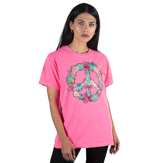 Country Girl® Comfort Colors Floral Peace Sign - Short Sleeve Tee
