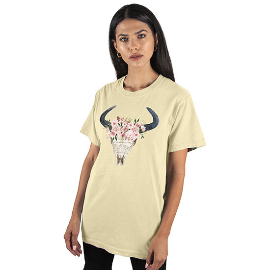 Country Girl® Comfort Colors Floral Skull - Short Sleeve Tee