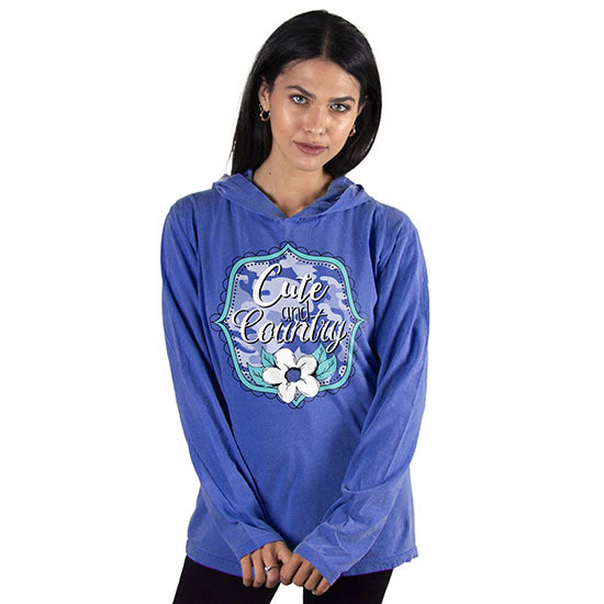 Country Girl® Comfort Colors Cute And Country - Hooded Long Sleeve Tee