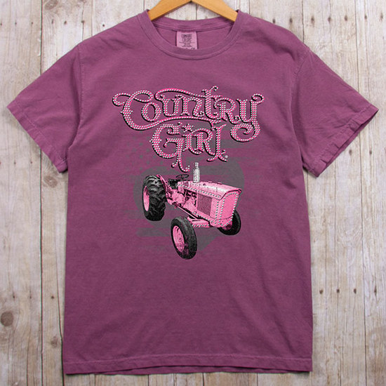 Country Girl® Comfort Colors Pink Tractor Rhinestones - Short Sleeve Tee