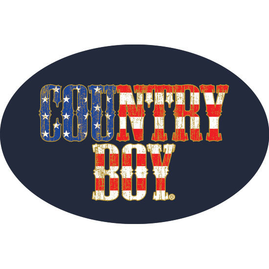 "Country Boy® USA Flag Logo - 6"" x 4"" Oval Bumper Sticker"