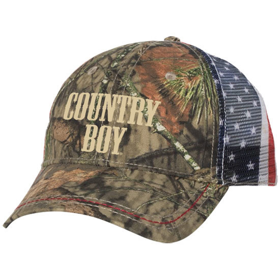 Country Boy® Logo Mossy Oak® - American Flag Trucker Hat