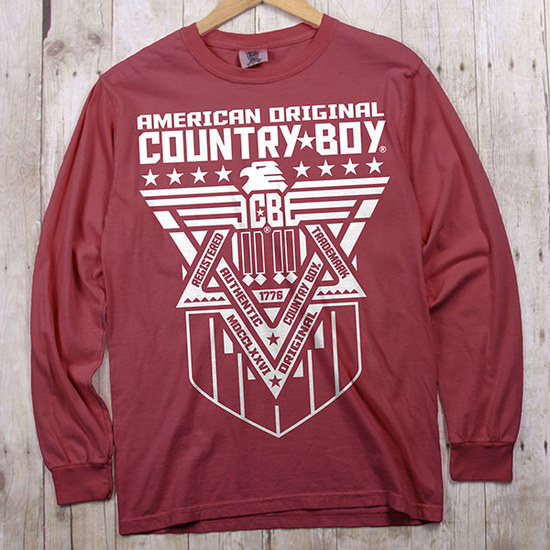 Country Boy® Comfort Colors American Original Eagle White - Long Sleeve Tee