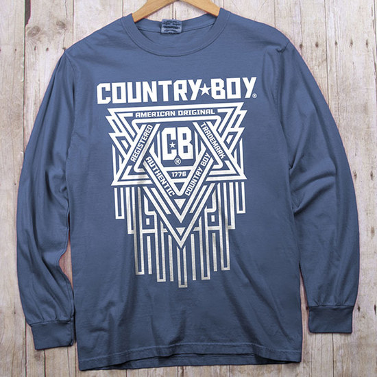 Country Boy® Comfort Colors CB Geometric White - Long Sleeve Tee