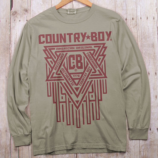 Country Boy® Comfort Colors CB Geometric Red - Long Sleeve Tee