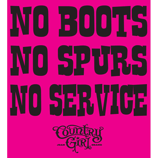 "Country Girl® No Boots No Service - 5"" x 5.5"" Sticker"