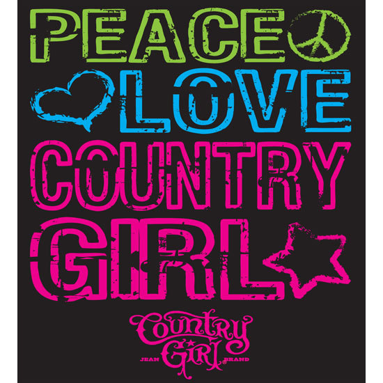 "Country Girl® Peace Love CG - 5"" x 5.5"" Sticker"