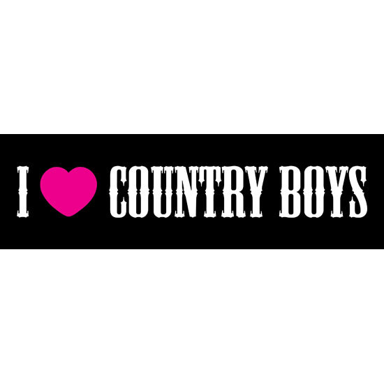 "Country Girl® I Heart Country Boys - 10"" x 3"" Bumper Sticker"