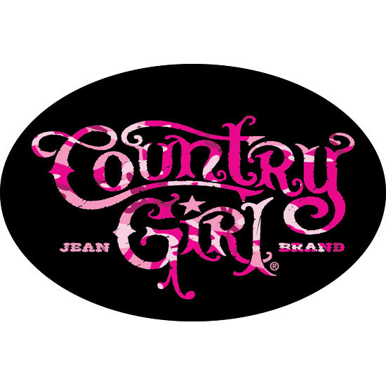 "Country Girl® Black/Pink Camo Logo - 6"" x 4"" Oval Bumper Sticker"