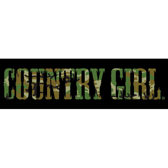 "Country Girl® Black/Camo - 10"" x 3"" Bumper Sticker"
