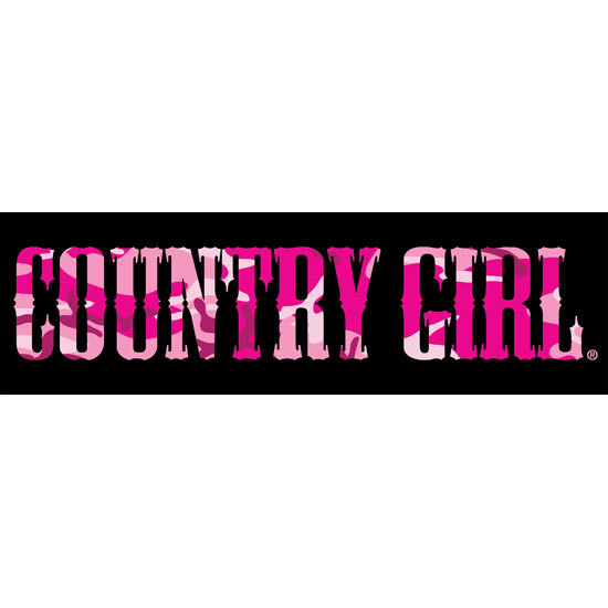 "Country Girl® Black/Pink Camo - 10"" x 3"" Bumper Sticker"