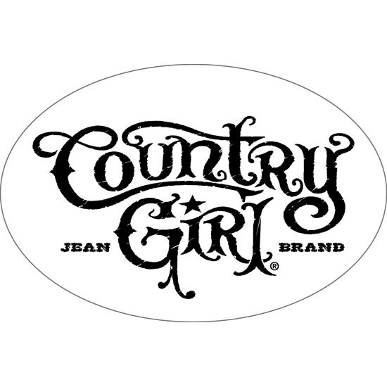 "Country Girl® White/Black - 6"" x 4"" Oval Bumper Sticker"