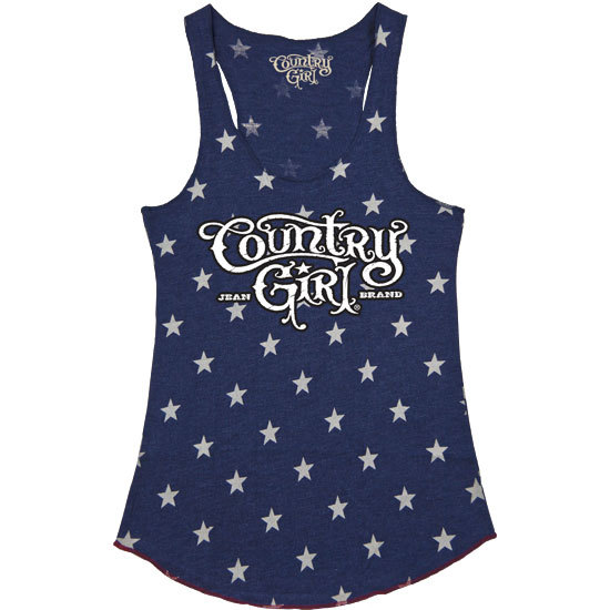 Country Girl® Logo - Blue Stars Fitted Racerback Pattern Tank