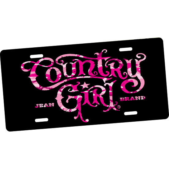 Country Girl® Pink Camo Logo - License Plate