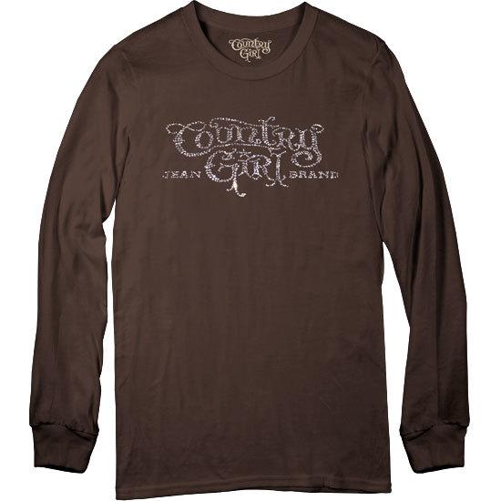 Country Girl® Rhinestones Logo - Long Sleeve Tee