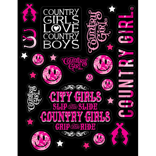 "Country Girl® Country Girls Pink Camo - 8.5"" x 11"" Sticker Sheet"
