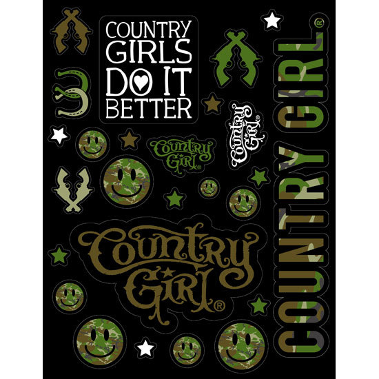 "Country Girl® Country Girls Green Camo - 8.5"" x 11"" Sticker Sheet"