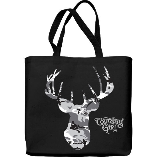 Country Girl® Grey Camo Buck Head - Lightweight Tote Bag