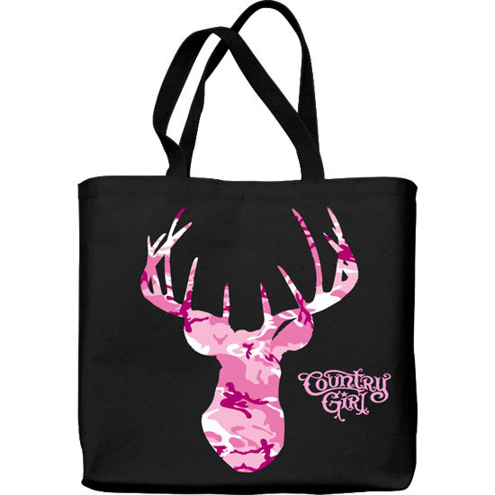 Country Girl® Pink Camo Buck Head - Lightweight Tote Bag