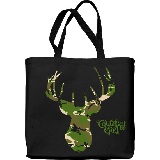 Country Girl® Green Camo Deer Head - Lightweight Tote Bag