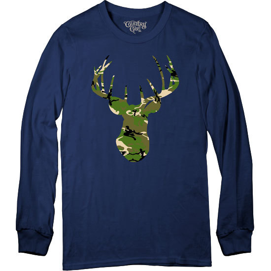 Country Girl® Green Camo Deer Head - Long Sleeve Tee