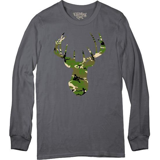 Country Girl® Green Camo Deer Head - Long Sleeve Tee