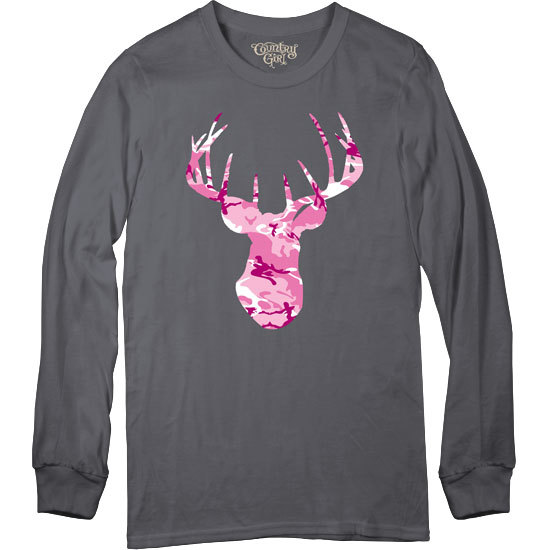 Country Girl® Pink Camo Deer Head - Long Sleeve Tee