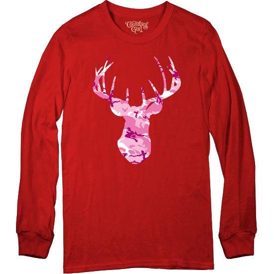 Country Girl® Pink Camo Deer Head - Long Sleeve Tee