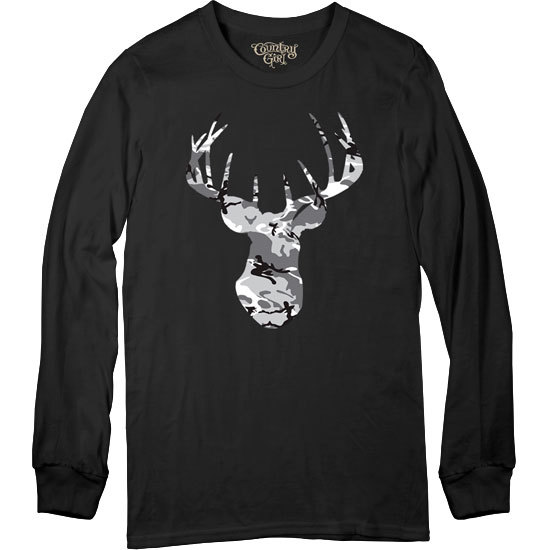 Country Girl® Grey Camo Deer Head - Long Sleeve Tee