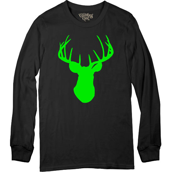 Country Girl® CG Neon Green Deer Head - Long Sleeve Tee