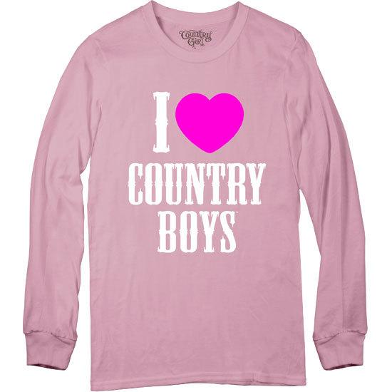 Country Girl® I Heart Country Boys - Long Sleeve Tee