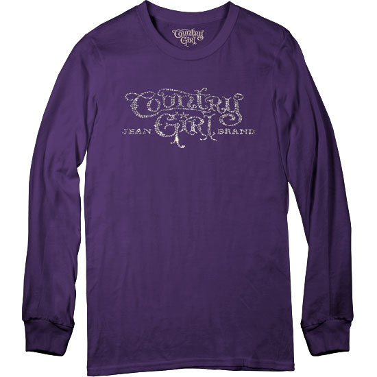 Country Girl® Rhinestones Logo - Long Sleeve Tee