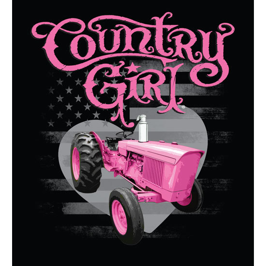 "Country Girl® Country Girls Pink Tractor - 5"" x 5.5"" Sticker"