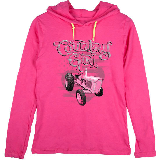 Country Girl® Rhinestone Pink Tractor - Lightweight Hooded Tee