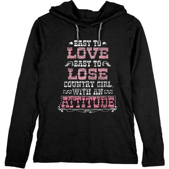 Country Girl® Rhinestone Attitude - Lightweight Hooded Tee